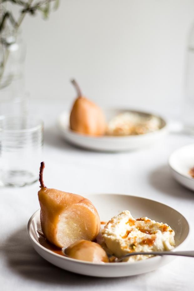 Poached Pears w Pistachio Praline12